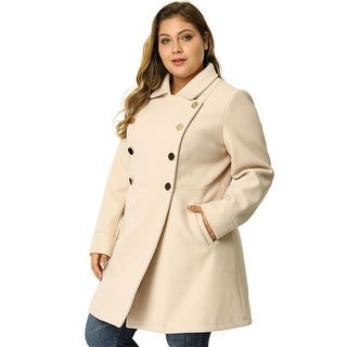 Link to Women's Plus Size A Line Turn Down Collar Double Breasted Coat Similar Items in Women's Outerwear