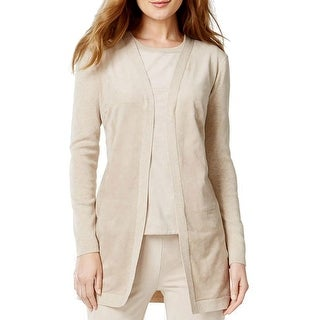 Calvin Klein Womens Cardigan Sweater Faux Suede Knit