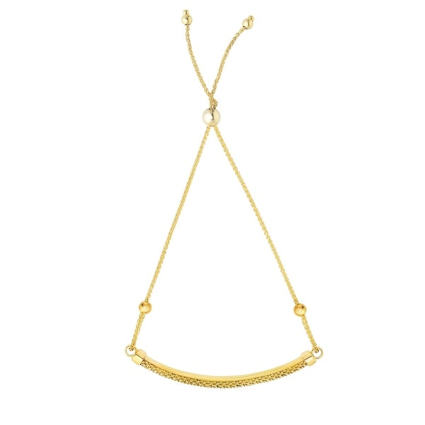 Mcs Jewelry Inc 14 KARAT YELLOW GOLD ROUND WHEAT BOLO BRACELET (ADJUSTABLE UP TO 9 1/4 INCHES)