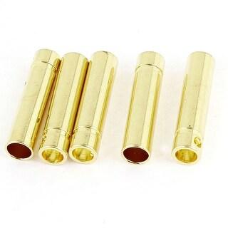 Unique Bargains 5 Pieces Gold Tone Metal Bullet Plug Female Connector 4mm