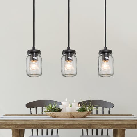 "1-Light Mason Jar Glass Linear Hanging Pendant Lights Chandelier for Living, Dining Room Kitchen Island - D3.2"" x H6"""