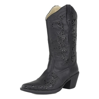 Roper Western Boots Womens Alisa Glitter Black