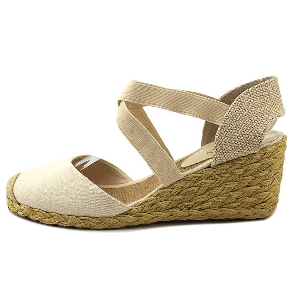 Open Toe Canvas Ivory Wedge Sandal