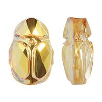 Swarovski Elements Crystal, 5728 Scarab Bead 12mm, 1 Piece, Crystal Metallic Sunshine