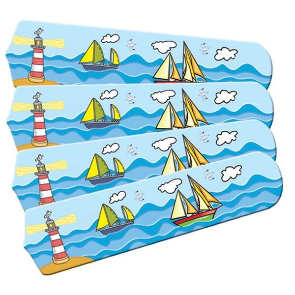 Sail Boats on the Sea Designer 42in Ceiling Fan Blades Set - Multi