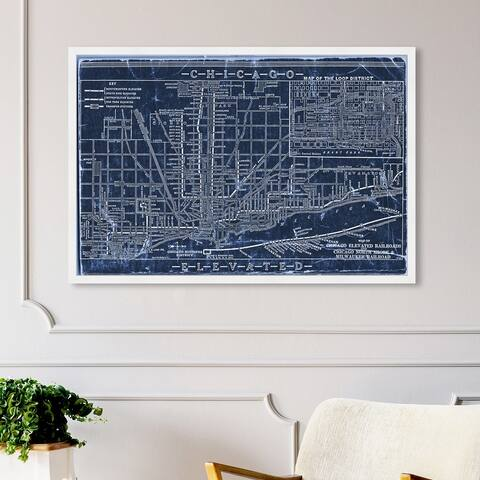 Oliver Gal 'Chicago Railroad Blueprint Map' Maps and Flags Wall Art Framed Print US Cities Maps - Blue, White
