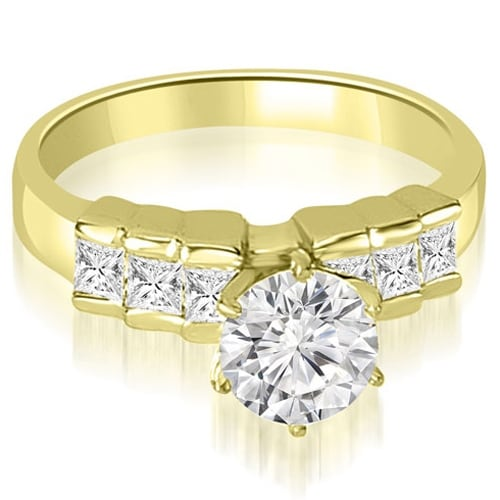 1.35 cttw. 14K Yellow Gold Princess Cut Diamond Engagement Ring