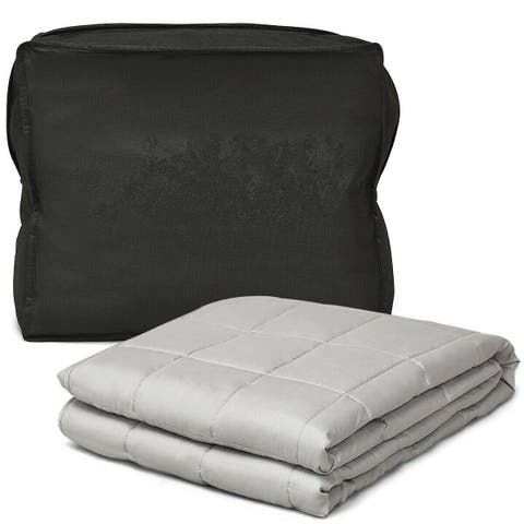 Gymax Weighted Blanket 12 lbs Full /Queen Size Cotton Blanket Glass Beads - 48'' x 72'' 12 lbs