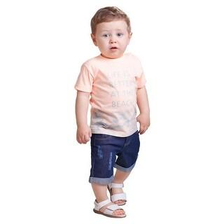 Pulla Bulla Baby Boy Beach Graphic Tee Short Sleeve Shirt