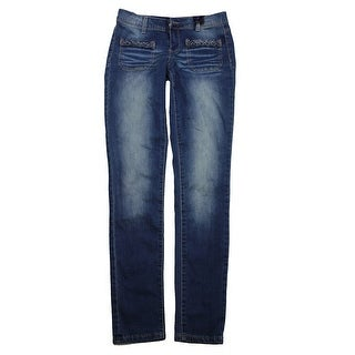 Rampage Juniors Faded Blue Braided Skinny Jeans