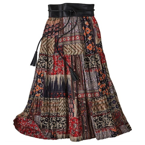 Women's Red Desert Broom Skirt - Reversible Red Floral/Patchwork Print
