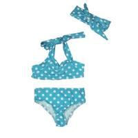 Baby Girls Light Blue Retro Polka Dot Headband Halter-Tie 3 Pc Swimsuit 3-6M