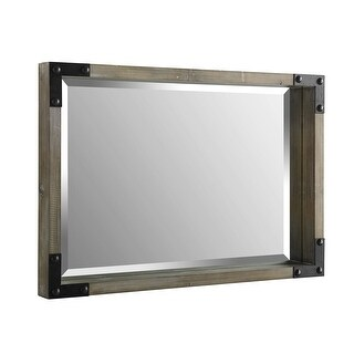 "Offex 36"" Rectangle Rustic Wood Wall Mirror with Metal Corner Brackets - Natural Wash - N/A"