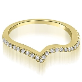 0.20 cttw. 14K Yellow Gold Curved Round Cut Diamond Wedding Ring