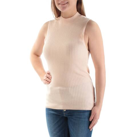 BAR III Womens Pink Textured Sleeveless Turtle Neck Top Size L