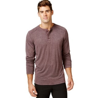 Weatherproof 32 Degrees Long Sleeve Henley Night Shirt Bordeaux  Red Small S