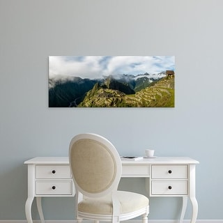 Easy Art Prints Panoramic Image 'View of Inca ruins, Machu Picchu, Urubamba Valley, Cusco City, Peru' Canvas Art