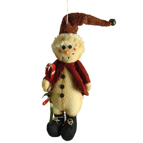 "10.5"" Country Heritage Plush Snowman in Santa Hat Christmas Ornament - multi"