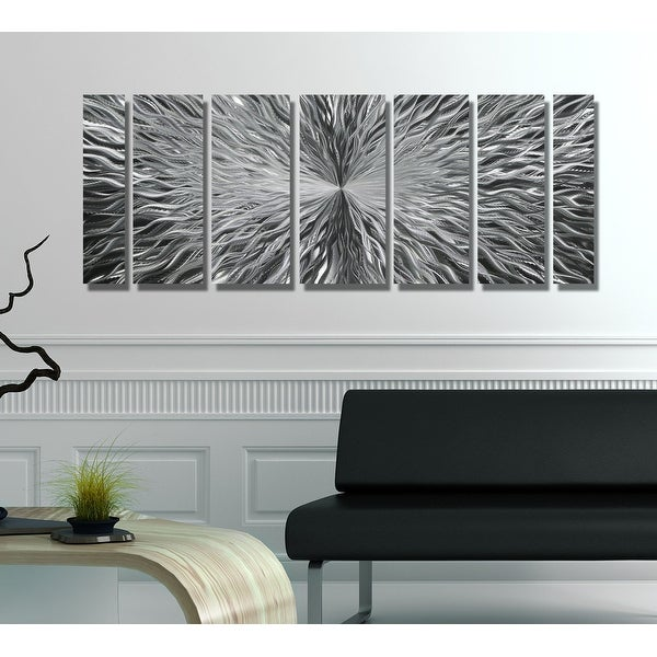Statements2000 Silver 7 Panel Modern Metal Wall Art Sculpture by Jon Allen - Vortex