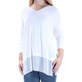 EILEEN FISHER $258 Womens New 1080 Ivory 3/4 Sleeve V Neck Casual Top 2XS B+B