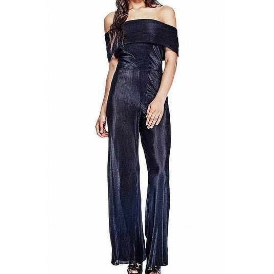 289cf790357c Shop Guess NEW Black Womens Size Large L Off-Shoulder Pleated Jumpsuit -  Free Shipping On Orders Over  45 - Overstock - 18796986