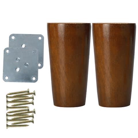 "4"" Wood Furniture Leg Table Desk Feet Round Leg Replacement Set of 2 - Walnut Brown"