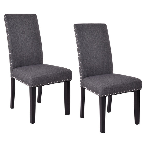 Costway Set of 2 Dining Chairs Fabric Upholstered Armless Accent Home Kitchen Furniture  sc 1 st  Overstock.com & Shop Costway Set of 2 Dining Chairs Fabric Upholstered Armless ...