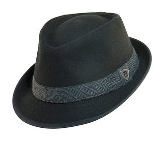 Dorfman Pacific Men's Wool Blend Fedora Hat with Herringbone Band (More options available)