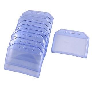 Unique Bargains Unique Bargains 5 Pairs Office Clear Blue Solft Plastic Horizontal A7 ID Name Card Badge Holders