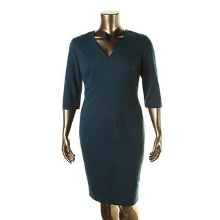 Classiques Entier Womens Ponte V-Neck Wear to Work Dress - 14