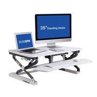 """FlexiSpot Standing Desk - 35"""" wide platform Height Adjustable Stand up Desk Riser with Quick Release Keyboard Tray (M2W-M-WTHIE)"""