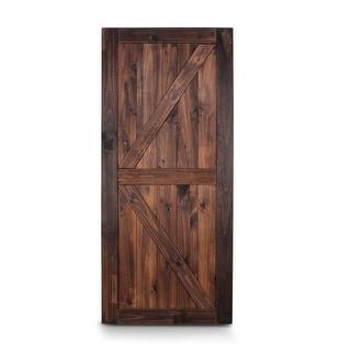 """BELLEZE 36""""x84"""" K-Frame Unfinished Sliding Barn Door Pine, Espresso - standard"""