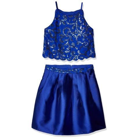 Amy Byer Girl's Dress Cobalt Blue Size 8 2-Piece Sequin Pleated-Skirt