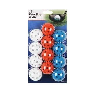Intech Golf Practice Balls with Holes, 12 Pack Multi (Red/White/Blue)