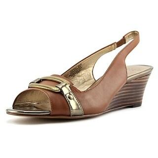 Circa Joan & David Sydnie Women Open-Toe Leather Brown Slingback Heel