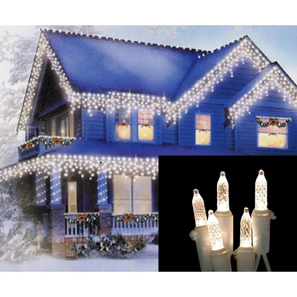 Set of 70 Warm White LED M5 Icicle Christmas Lights – White Wire - CLEAR