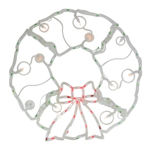 "31.5"" Folding Lighted Twinkling Wreath Christmas Window Decoration - Multi Lights"