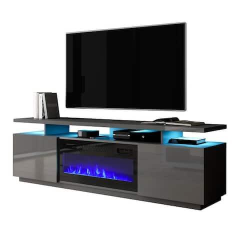 Mobile Furniture Eva-KBL Electric Fireplace Modern 71-inch TV Stand