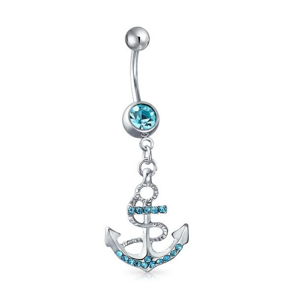 Nautical Anchor Dangle Bar Belly Ring For Women Aqua Blue Crystal 316l Stainless Steel 14 Gauge