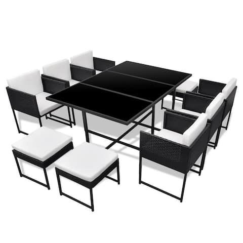 vidaXL Garden Dining Set 27 Pieces Poly Rattan Wicker Black Outdoor Seat Table