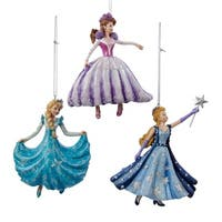"4.25"" Ice Palace Aqua Blue Glitter Dancing Princess Christmas Ornament"
