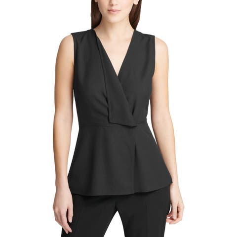 DKNY Womens Peplum Top Sleeveless Faux Wrap - XS