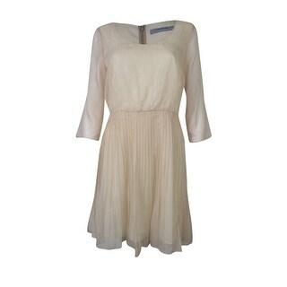 Marc New York Women's Scoop Neck Pleated Chiffon Dress - 6