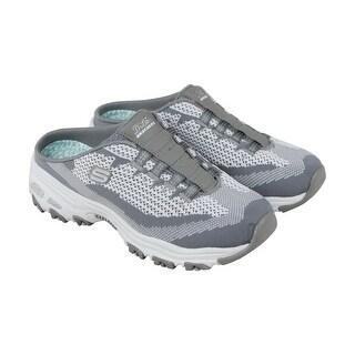 Skechers D Lites Womens Gray Textile Athletic Slip On Training Shoes