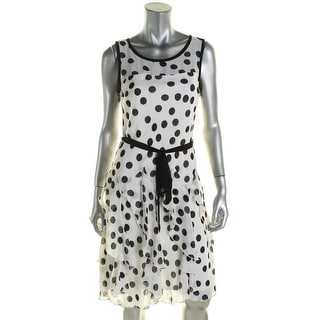 Signature By Robbie Bee Womens Casual Dress Ruffled Polka Dot