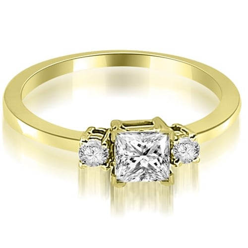 0.60 cttw. 14K Yellow Gold Princess Cut Diamond Engagement Ring