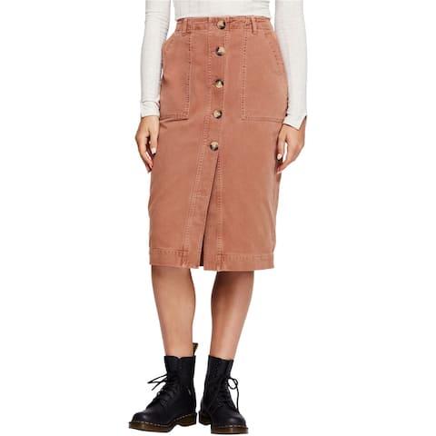 Free People Womens Utility Denim Midi Skirt, Brown, 2