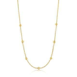 "Orbit Beaded Necklace - Shiny Gold - 13.7"""