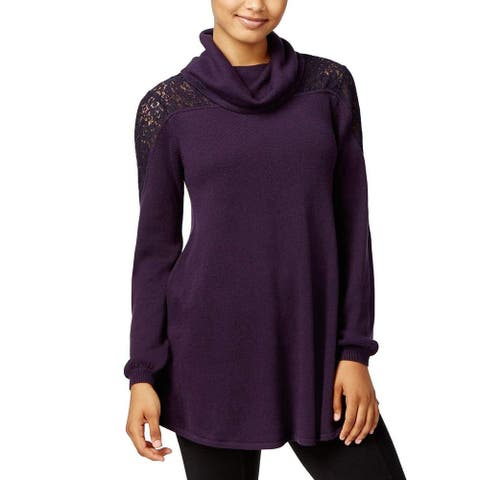 Style & Co. Women's New $69 Lace Inset Cowl Neck Sweater Purple PP