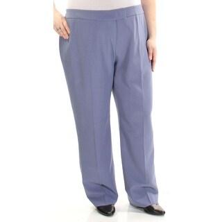 Anne Klein Blue Women's 20W Plus Straight Flat Front Dress Pants